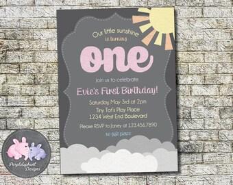 You Are My Sunshine Birthday Invitation, Boys Sunshine Birthday, Girls Sunshine Birthday, First Birthday, Second Birthday, 5x7 Printable