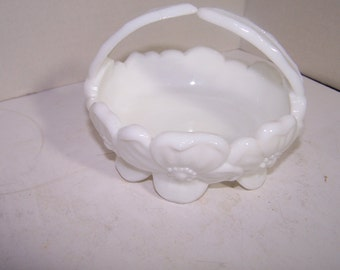 Vintage White Milkglass Small Basket