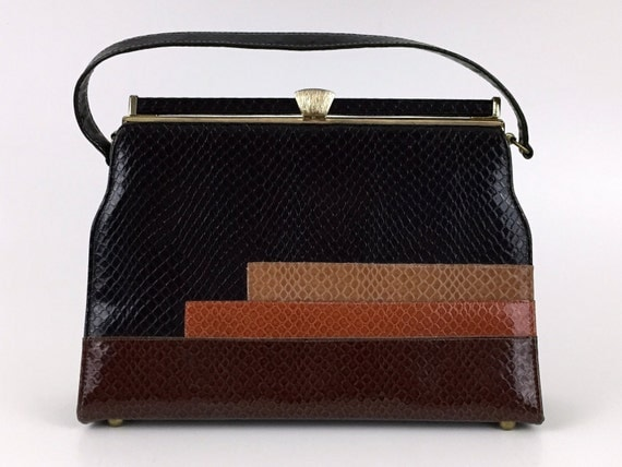 Kelly Style Handbag - Faux Reptile Skin Purse - Vintage 1960s Color Block Bag