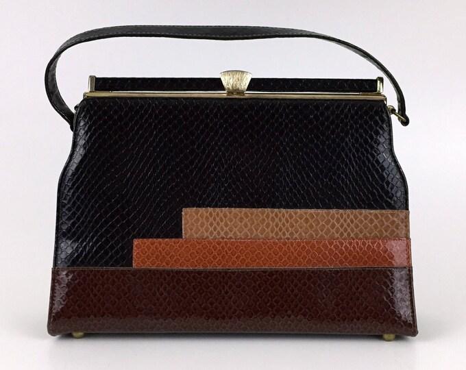 Vintage 1960s Earth Tone Color Block Handbag