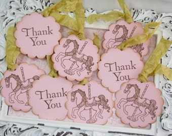 Carousel Horse Tags, Thank You Hang Tag, Handmade Tags, Party Favors, First Birthday, Carnival, Horses, Merry Go Round, Park, Baby Shower