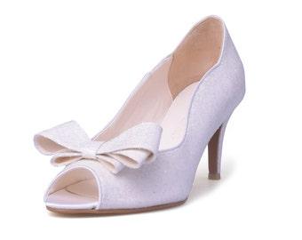 Glittering White Wedding Shoes, Custom Made Wedding Shoes, Bridal Heels, White Wedding Shoes, Shinny Wedding Heels