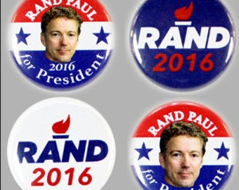 "2016 RAND PAUL PRESIDENTIAL Campaign Button 4 Piece Set, 1"" Diameter"