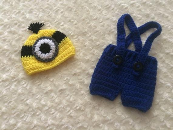 Free Crochet Pattern For Minion Hat And Overalls : Crochet Newborn Minion Overalls MADE TO ORDER Dark Blue