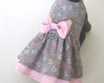 XS-M Breast Cancer Awareness Little Dog Dress - Puppy Dress - Small Dog Dress - Tiny Dog Dress - Pet Dress