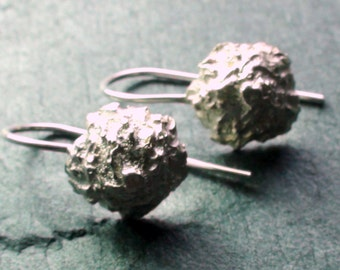 Moon earrings -  Sterling Silver drops on hand formed wires