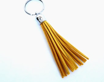 Mustard yellow suede tassel keychain or purse charm