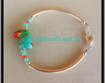 Bracelet Colorful Parrot Beads Coral Aqua Silver Green