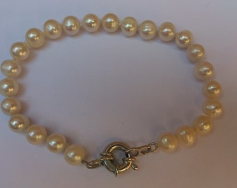 real pearl and sterling silver bracelet