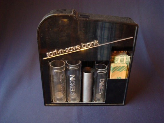 Vintage sort n save mechanical coin bank - Sorting coin bank ...