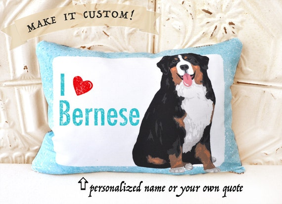 Custom Bernese Mountain Dog Art Pillow, Personalized Art Pillow