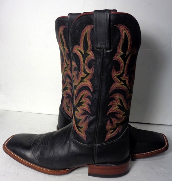 justin black leather square toe western cowboy boots by