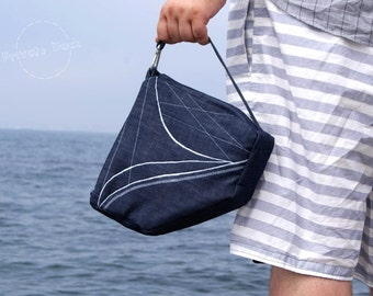 SALE -20% Nautical handbag Yacht Nautical Art Design, sailor style - deep navy / white, embroidery. Gift for him!