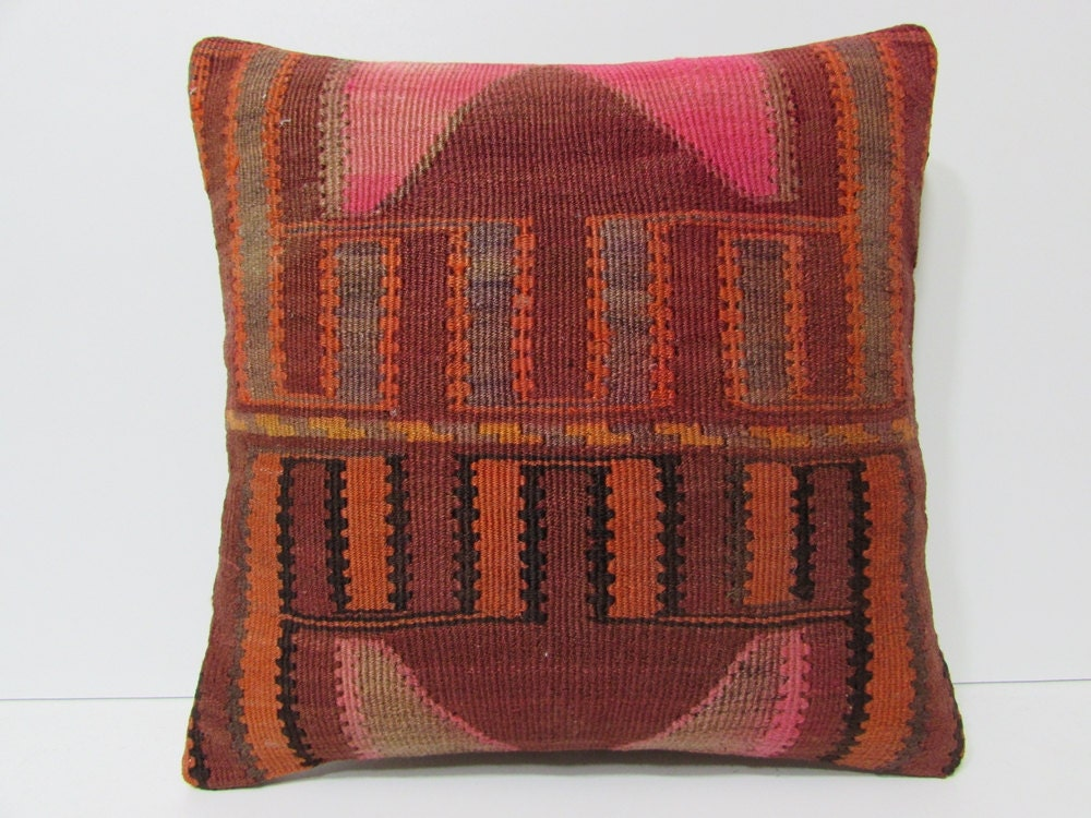 20x20 HAND WOVEN southwestern pillow red by DECOLICKILIMPILLOWS