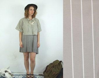 80's vintage women's brown striped shirt top