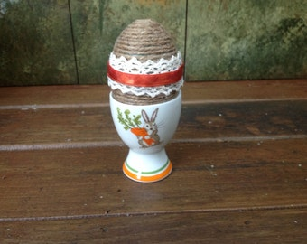 Vintage Egg Cup with Shabby Chic Egg