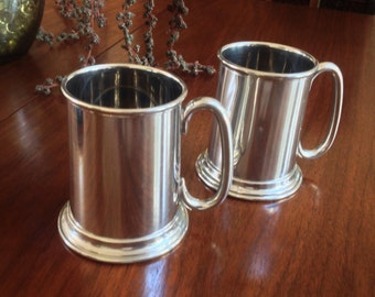 Pair of A.L. Hanle Glass Bottom Pewter Tankards