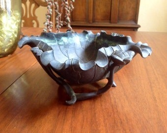 Reduced Antique Footed Bronze Lotus Blosom Bowl