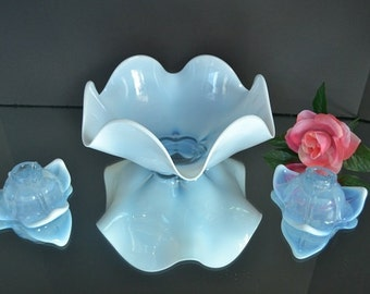 Antique Opalescent Blue Bowl and Candle Holders