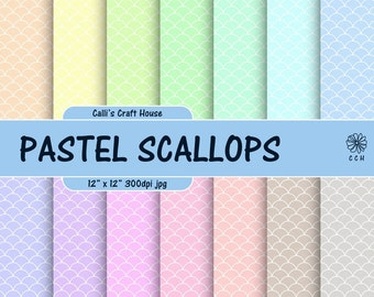 Pastel Scallops Digital Papers - scallop background - 14 soft pastel backgrounds with white scallop - Commercial Use - Instant Download