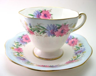 Foley Tea Cup and Saucer, Light Blue and white tea cup and saucer set,  Cornflower border, English Bone China