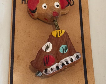 1930's TREMBLER Dog Pin Hand Painted Japan