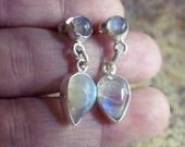 CLEARANCE 925 rainbow moonstone earrings droplet moonstone rounds genuine moonstone earrings September birthstone