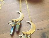 "the ""space"" necklace-rainbow titanium aura quartz crystals, moon and stars-boho hippie celestial jewelry"