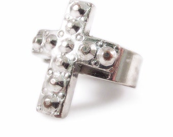 Studded Cross Silver Tone Adjustable Ring