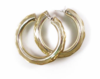 Huge Golden Lucite Hoop Pierced Earrings