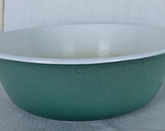 "Prizer Ware Enamel Cast Iron Ombre Teal 8"" Casserole Dish, Vintage Porcelain Enamelware Casserole Dish, Cast Iron Porcelain Enamelware"