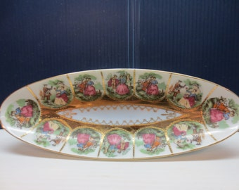 Beautiful Long Oval Asparagus Dish With Vintage Scenes And Gold Trim, Makers Mark On Bottom