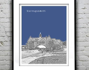 Narragansett Skyline Poster Art Print Rhode Island RI Version 1