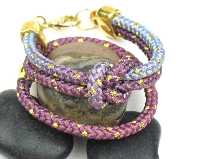 Nautical Rope Bracelet in Mauve Ombre with Knotted Mokuba Cord