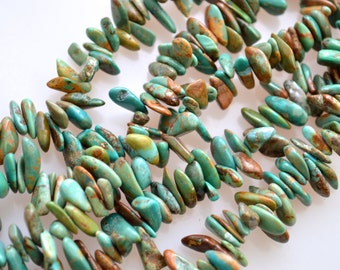 Natural Color Turquoise Beads Long Nugget Shape Top Drill Blue Green/Yellowish Color Size Approx. 3-4x8-12mm 16 Inch.