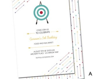 Archery Arrow Themed Birthday Invite (Digital File)