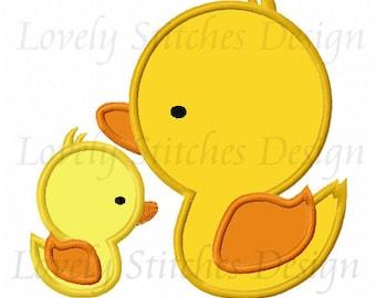 Two Ducks Applique Machine Embroidery Design NO:0327