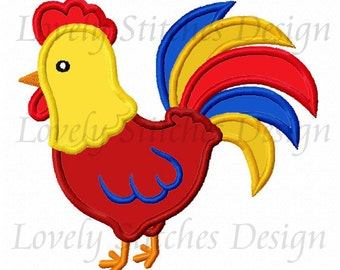 Rooster Applique Machine Embroidery Design NO:0338