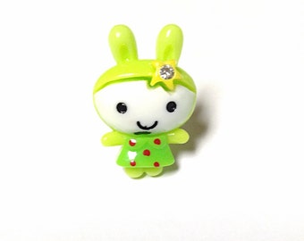 Green kawaii bunny ring, animal ring, bunny ring
