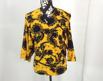 Yellow and Black Graphic Print Rayon Blouse - Medium