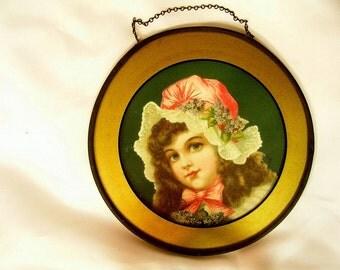 Antique Victorian Girl Framed Lithoqraph