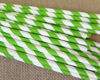 Striped Paper Straws - Green and White - 25 Count - Birthdays, Weddings, Bridal Shower, Baby Shower
