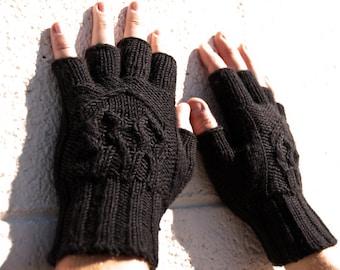 Men's knit fingerless gloves with skulls, black merino wool machine-washable men's half-fingered gloves, texting gloves, skull gloves