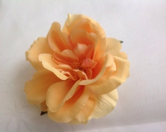 Bridal Flower Hair Pin Wedding Hair Accessory  Peach Apricot Color Rose Hair Pin Rose Bridal Hair Pin Rose Prom Hair Pin - Large