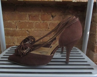 1950s Grace Walker d'Orsay brown pumps | 50's Old Hollywood Glamour Mid Century New Look | Size 6.5 | Ms. Lollobrigida