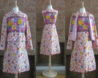 1960s Anne Fogarty pink dress suit | 60's Mod | Size L