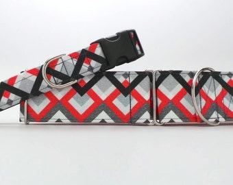 Red to Black Argyle Dog Collar (Martingale, Buckle, or Tag)