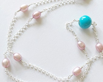 Sleeping Beauty Turquoise and Pearl Necklace