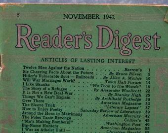 Vintage Reader's Digest Magazine November 1942 Price Reduced
