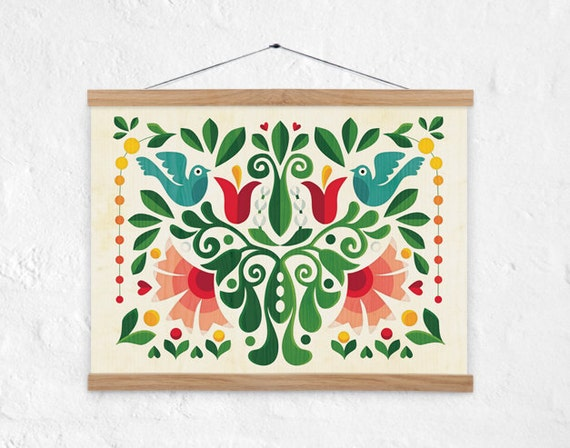 Love Birds Folk Motiv / Home Decor / Inkjet Print / By DURIDO
